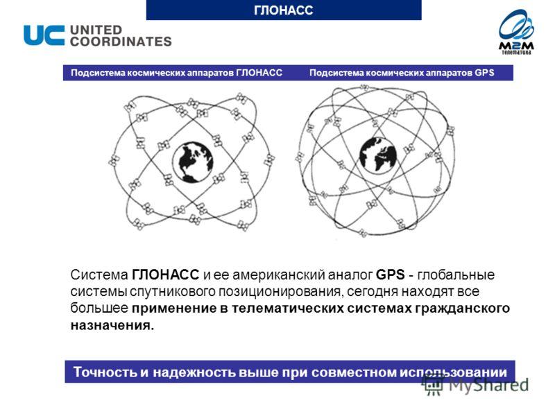 Система ГЛОНАСС и ее американский аналог GPS - глобальные системы спутникового позиционирования, сегодня находят все большее применение в телематических системах гражданского назначения. ГЛОНАСС Точность и надежность выше при совместном использовании