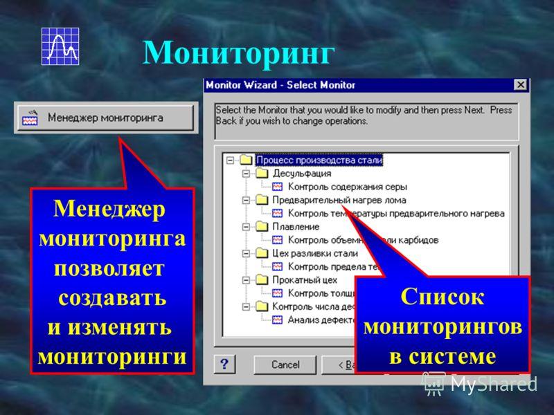 Мониторинг Менеджер мониторинга позволяет создавать и изменять мониторинги Список мониторингов в системе