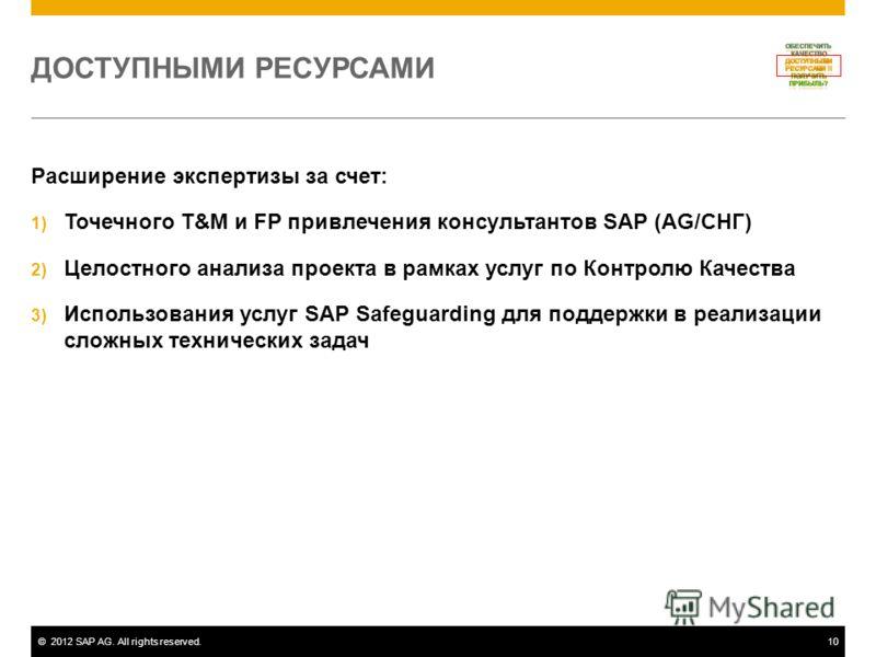 ©2012 SAP AG. All rights reserved.10 ДОСТУПНЫМИ РЕСУРСАМИ Расширение экспертизы за счет: 1) Точечного T&M и FP привлечения консультантов SAP (AG/СНГ) 2) Целостного анализа проекта в рамках услуг по Контролю Качества 3) Использования услуг SAP Safegua