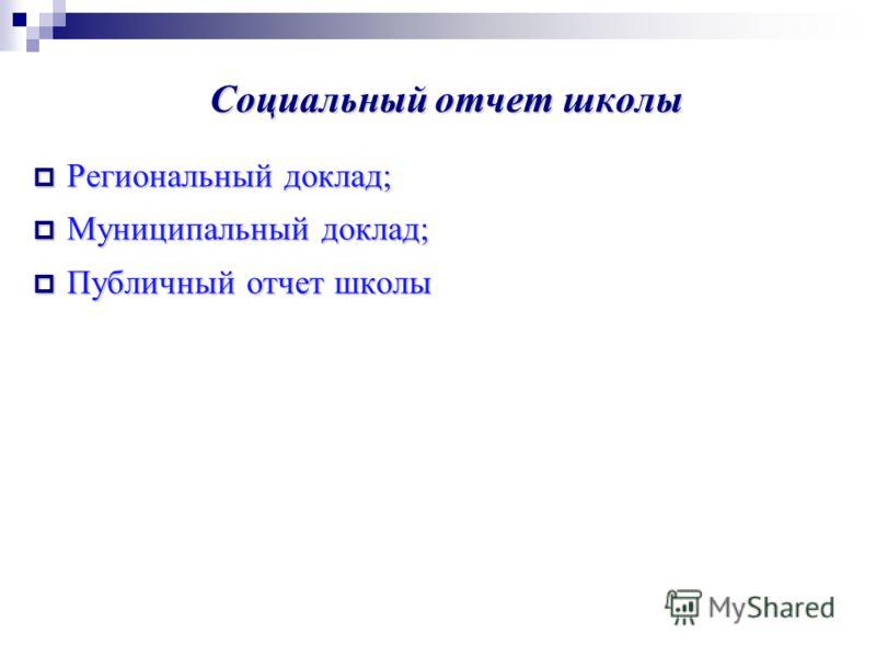 Социальный отчет школы Региональный доклад; Региональный доклад; Муниципальный доклад; Муниципальный доклад; Публичный отчет школы Публичный отчет школы