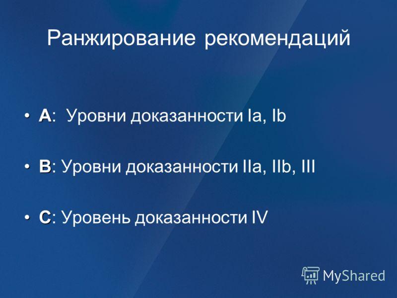 Ранжирование рекомендаций AA: Уровни доказанности Ia, Ib BB: Уровни доказанности IIa, IIb, III CC: Уровень доказанности IV