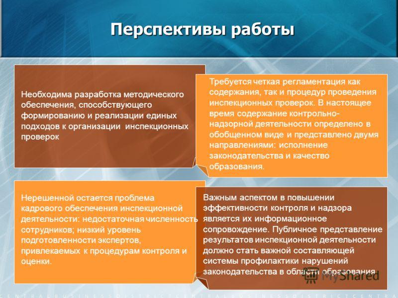 Перспективы работы Необходима разработка методического обеспечения, способствующего формированию и реализации единых подходов к организации инспекционных проверок Важным аспектом в повышении эффективности контроля и надзора является их информационное