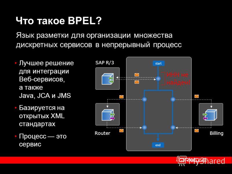 Что такое BPEL? Лучшее решение для интеграции Веб-сервисов, а также Java, JCA и JMS Базируется на открытых XML стандартах Процесс это сервис SAP R/3 start end RouterBilling Язык разметки для организации множества дискретных сервисов в непрерывный про