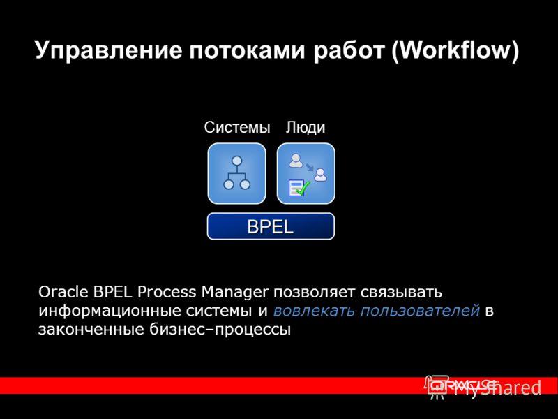 Управление потоками работ (Workflow) BPEL Oracle BPEL Process Manager позволяет связывать информационные системы и вовлекать пользователей в законченные бизнес–процессы СистемыЛюди