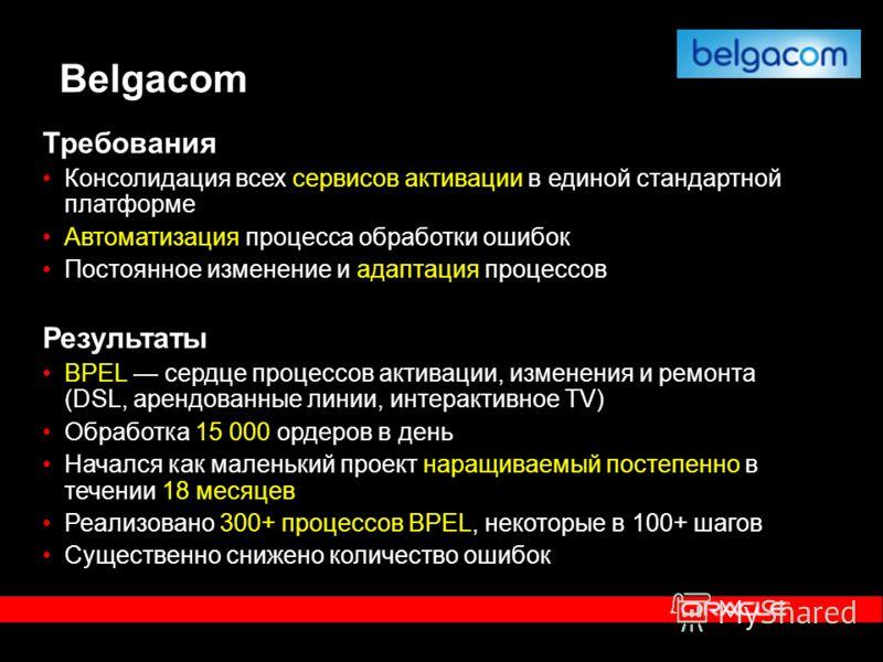Belgacom Требования Консолидация всех сервисов активации в единой стандартной платформе Автоматизация процесса обработки ошибок Постоянное изменение и адаптация процессов Результаты BPEL сердце процессов активации, изменения и ремонта (DSL, арендован