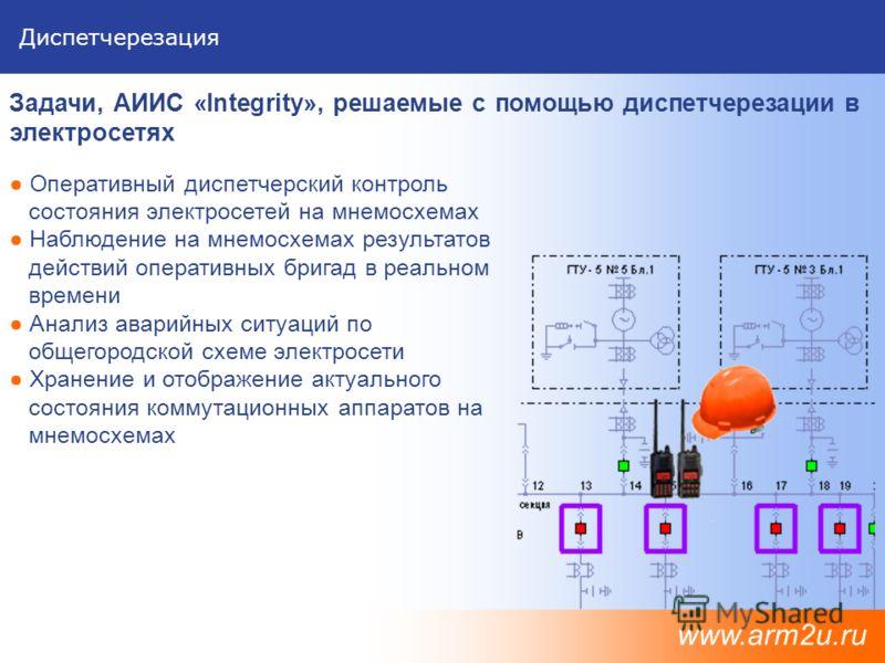 Диспетчерезация Оперативный диспетчерский контроль состояния электросетей на мнемосхемах Наблюдение на мнемосхемах результатов действий оперативных бригад в реальном времени Анализ аварийных ситуаций по общегородской схеме электросети Хранение и отоб