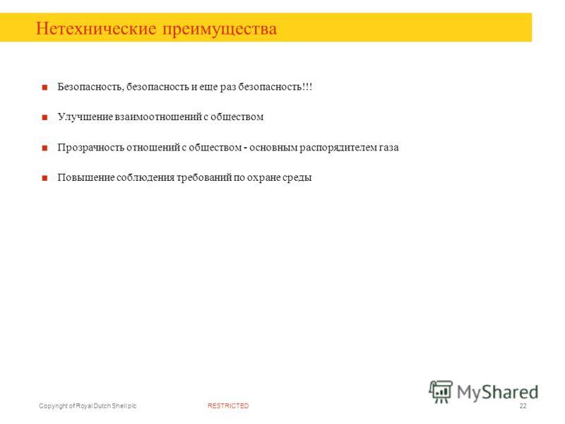 RESTRICTEDCopyright of Royal Dutch Shell plc22 Нетехнические преимущества Безопасность, безопасность и еще раз безопасность!!! Улучшение взаимоотношений с обществом Прозрачность отношений с обществом - основным распорядителем газа Повышение соблюдени