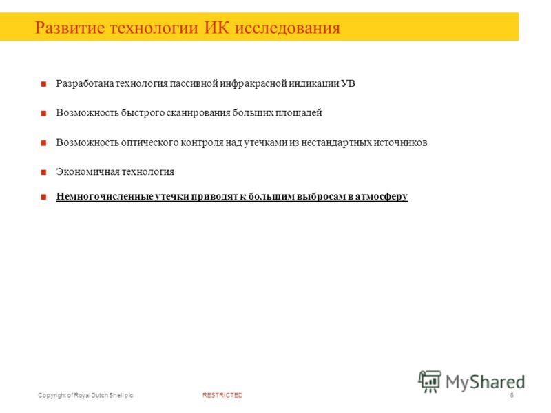 RESTRICTEDCopyright of Royal Dutch Shell plc6 Развитие технологии ИК исследования Разработана технология пассивной инфракрасной индикации УВ Возможность быстрого сканирования больших площадей Возможность оптического контроля над утечками из нестандар
