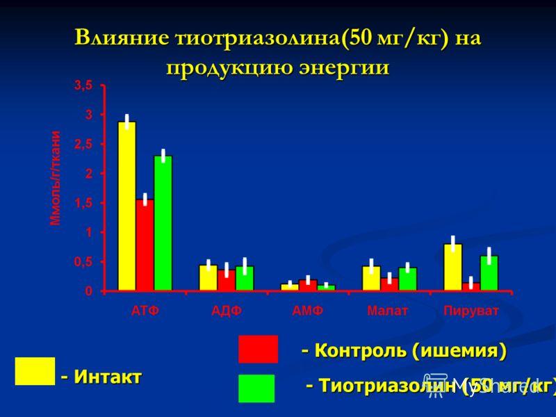 Влияние тиотриазолина(50 мг/кг) на продукцию энергии - Контроль (ишемия) - Тиотриазолин (50 мг/кг) - Интакт