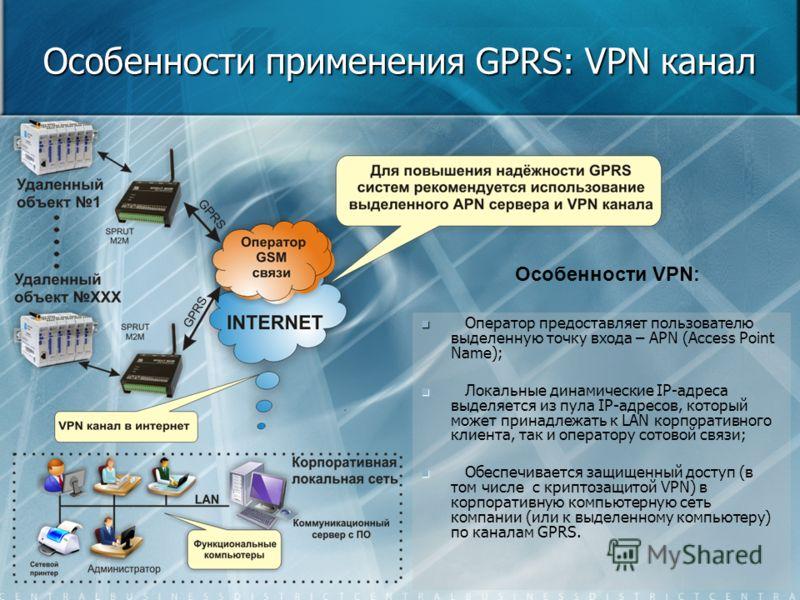 Особенности применения GPRS: VPN канал Оператор предоставляет пользователю выделенную точку входа – APN (Access Point Name); Локальные динамические IP-адреса выделяется из пула IP-адресов, который может принадлежать к LAN корпоративного клиента, так