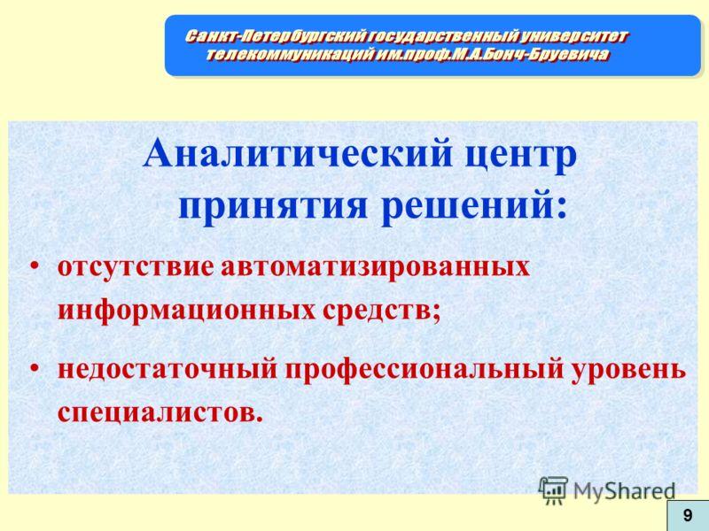 Аналитический центр принятия решений: отсутствие автоматизированных информационных средств; недостаточный профессиональный уровень специалистов. 9