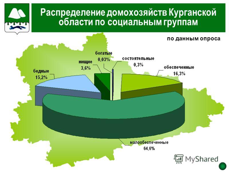 Распределение домохозяйств Курганской области по социальным группам по данным опроса