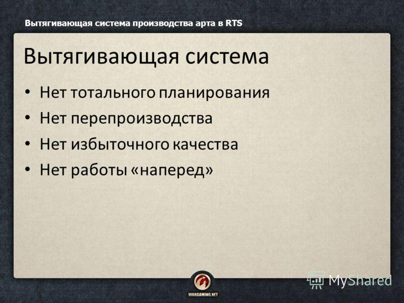 Нет тотального планирования Нет перепроизводства Нет избыточного качества Нет работы «наперед» Вытягивающая система производства арта в RTS Вытягивающая система