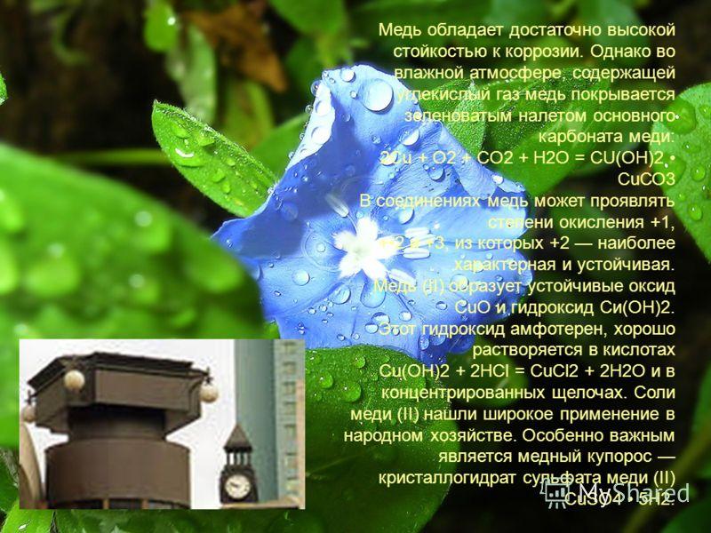 Медь обладает достаточно высокой стойкостью к коррозии. Однако во влажной атмосфере, содержащей углекислый газ медь покрывается зеленоватым налетом основного карбоната меди: 2Сu + O2 + СO2 + Н2O = СU(ОН)2 СuСО3 В соединениях медь может проявлять степ
