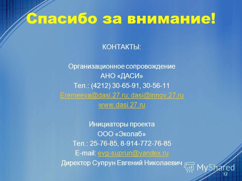 Спасибо за внимание! КОНТАКТЫ: Организационное сопровождение АНО «ДАСИ» Тел.: (4212) 30-65-91, 30-56-11 Eremeeva@dasi.27.ru; dasi@innov.27.ru www.dasi.27.ru Инициаторы проекта ООО «Эколаб» Тел.: 25-76-85, 8-914-772-76-85 E-mail: evg-suprun@yandex.rue