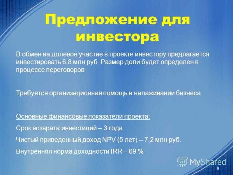Предложение для инвестора В обмен на долевое участие в проекте инвестору предлагается инвестировать 6,8 млн руб. Размер доли будет определен в процессе переговоров Требуется организационная помощь в налаживании бизнеса Основные финансовые показатели