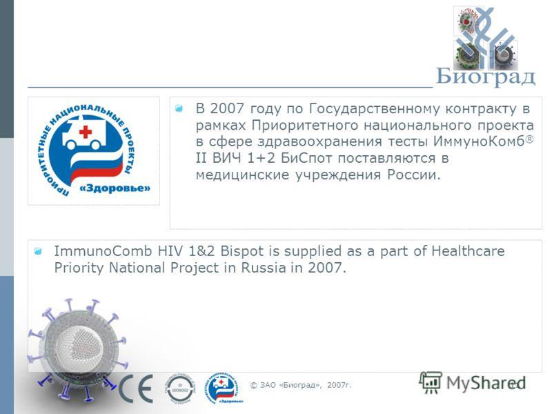© ЗАО «Биоград», 2007г.11 В 2007 году по Государственному контракту в рамках Приоритетного национального проекта в сфере здравоохранения тесты ИммуноКомб ® II ВИЧ 1+2 БиСпот поставляются в медицинские учреждения России. ImmunoComb HIV 1&2 Bispot is s