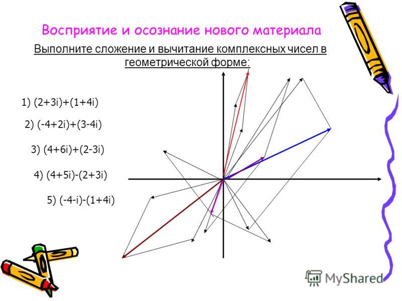 Восприятие и осознание нового материала Выполните сложение и вычитание комплексных чисел в геометрической форме: 1) (2+3i)+(1+4i) 2) (-4+2i)+(3-4i) 3) (4+6i)+(2-3i) 4) (4+5i)-(2+3i) 5) (-4-i)-(1+4i)