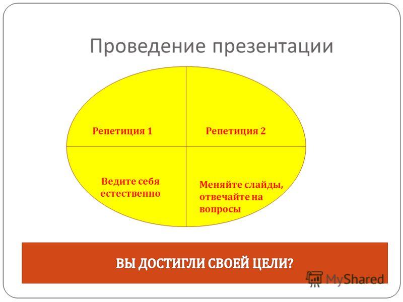 Проведение презентации Репетиция 1Репетиция 2 Ведите себя естественно Меняйте слайды, отвечайте на вопросы