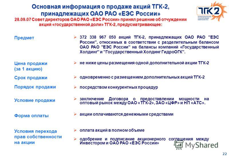 22 372 338 967 050 акций ТГК-2, принадлежащих ОАО РАО