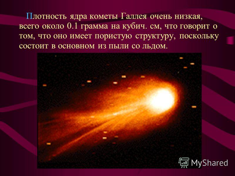 Плотность ядра кометы Галлея очень низкая, всего около 0.1 грамма на кубич. см, что говорит о том, что оно имеет пористую структуру, поскольку состоит в основном из пыли со льдом.