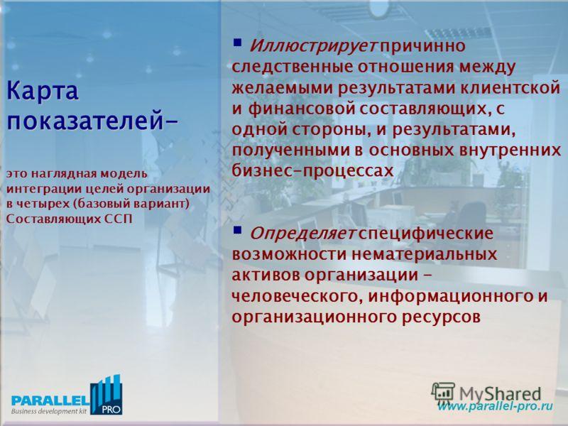www.parallel-pro.ru Карта показателей- это наглядная модель интеграции целей организации в четырех (базовый вариант) Составляющих ССП Иллюстрирует причинно следственные отношения между желаемыми результатами клиентской и финансовой составляющих, с од