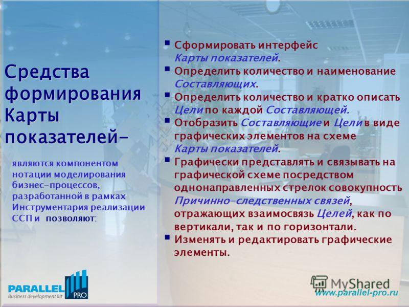 www.parallel-pro.ru Сформировать интерфейс Карты показателей. Определить количество и наименование Составляющих. Определить количество и кратко описать Цели по каждой Составляющей. Отобразить Составляющие и Цели в виде графических элементов на схеме