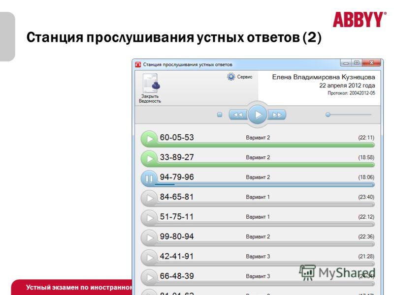 Устный экзамен по иностранному языку Станция прослушивания устных ответов (2)