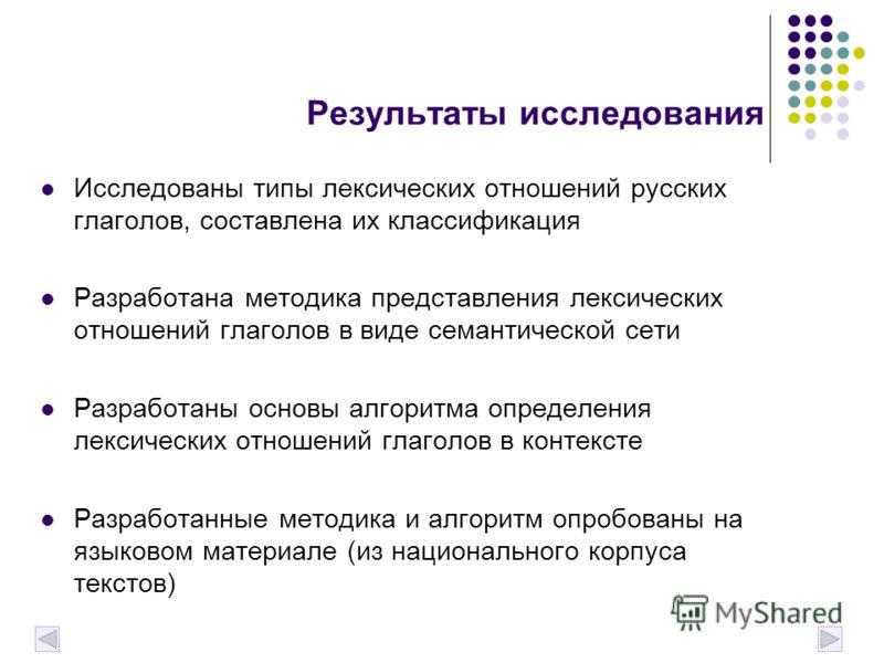 Результаты исследования Исследованы типы лексических отношений русских глаголов, составлена их классификация Разработана методика представления лексических отношений глаголов в виде семантической сети Разработаны основы алгоритма определения лексичес