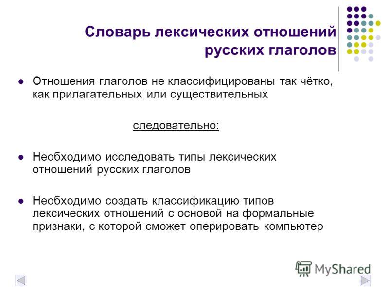 Словарь лексических отношений русских глаголов Отношения глаголов не классифицированы так чётко, как прилагательных или существительных следовательно: Необходимо исследовать типы лексических отношений русских глаголов Необходимо создать классификацию