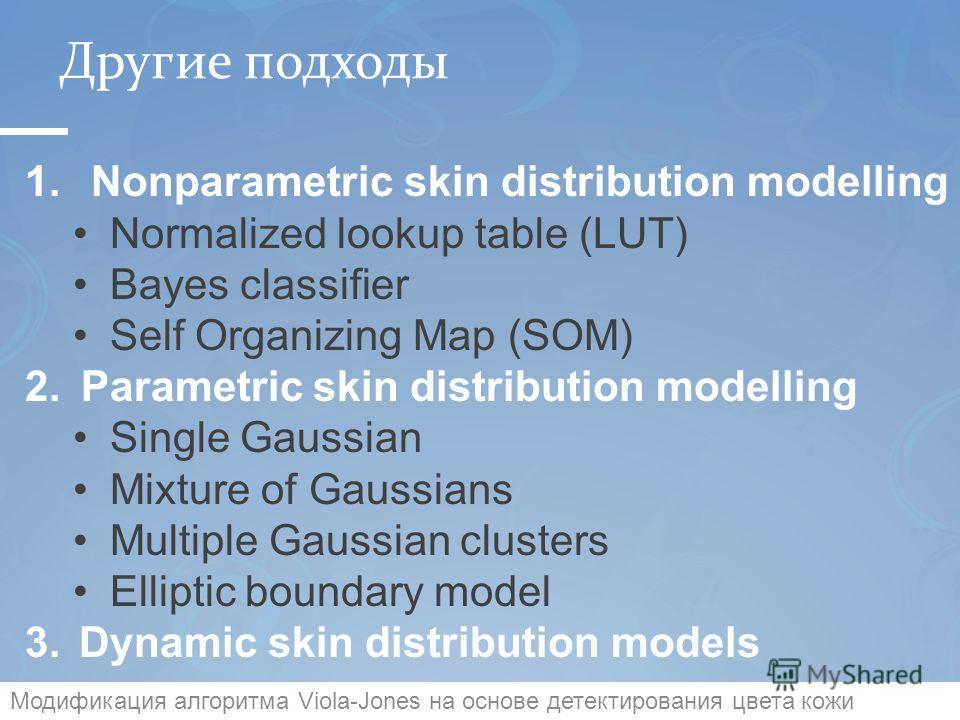 Другие подходы 11 1. Nonparametric skin distribution modelling Normalized lookup table (LUT) Bayes classifier Self Organizing Map (SOM) 2. Parametric skin distribution modelling Single Gaussian Mixture of Gaussians Multiple Gaussian clusters Elliptic