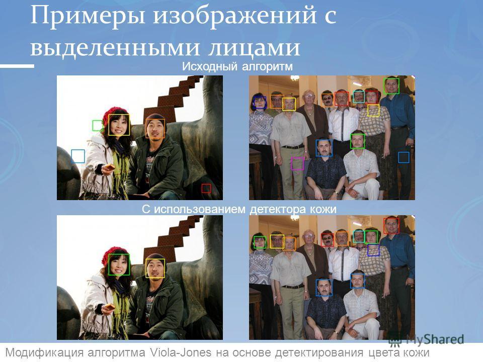 Примеры изображений с выделенными лицами 5 Исходный алгоритм С использованием детектора кожи Модификация алгоритма Viola-Jones на основе детектирования цвета кожи