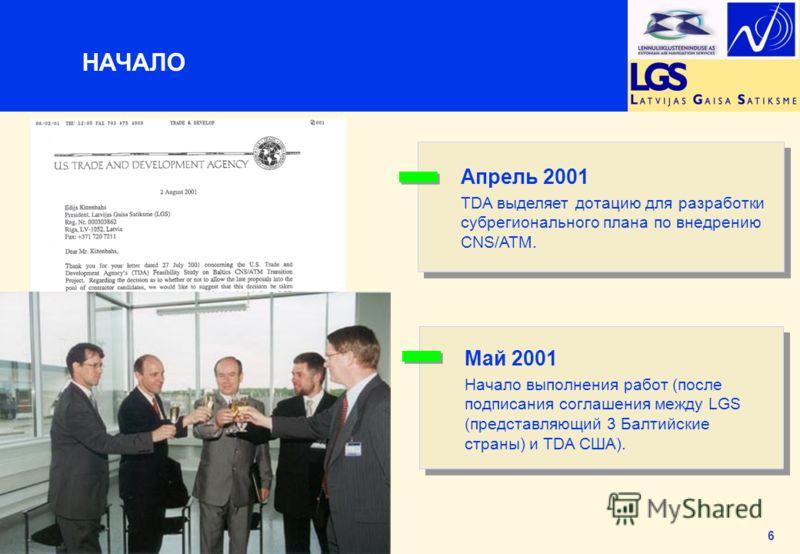 6 НАЧАЛО Апрель 2001 TDA выделяет дотацию для разработки субрегионального плана по внедрению CNS/ATM. Май 2001 Начало выполнения работ (после подписания соглашения между LGS (представляющий 3 Балтийские страны) и TDA США).