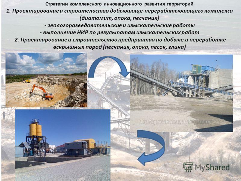 Стратегии комплексного инновационного развития территорий 1. Проектирование и строительство добывающе-перерабатывающего комплекса (диатомит, опока, песчаник) - геологоразведовательские и изыскательские работы - выполнение НИР по результатам изыскател