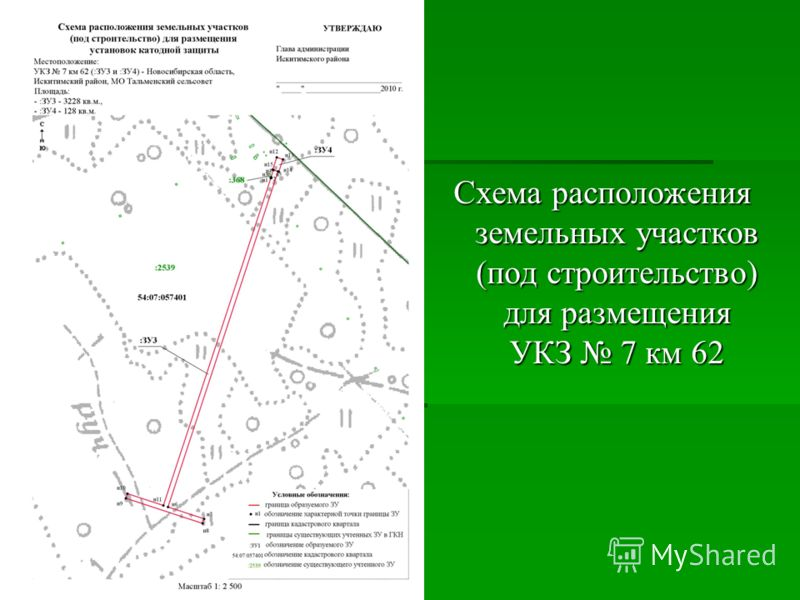 Схема расположения земельных участков (под строительство) для размещения УКЗ 7 км 62