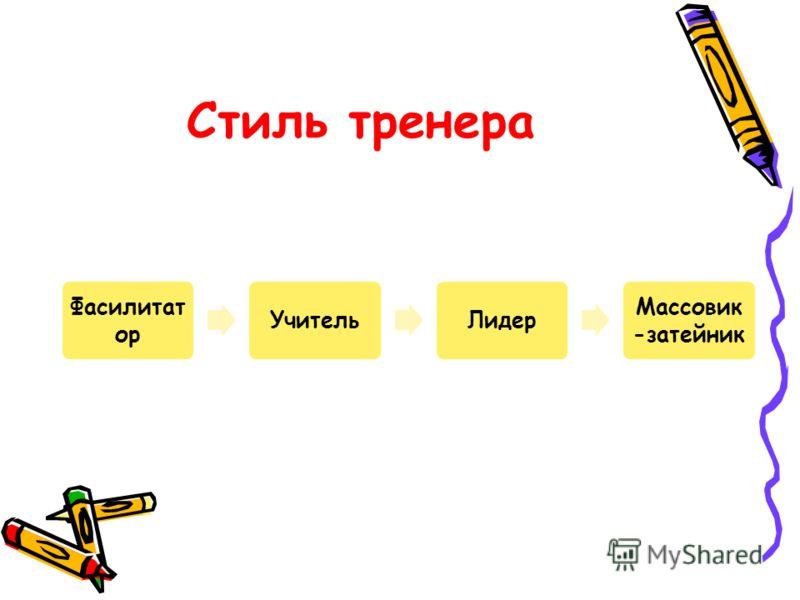 Стиль тренера Фасилитат ор УчительЛидер Массовик -затейник