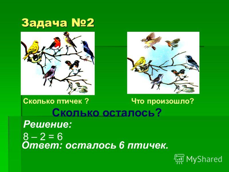 Задача 2 Сколько осталось? Сколько птичек ?Что произошло? Решение: 8 – 2 = 6 Ответ: осталось 6 птичек.