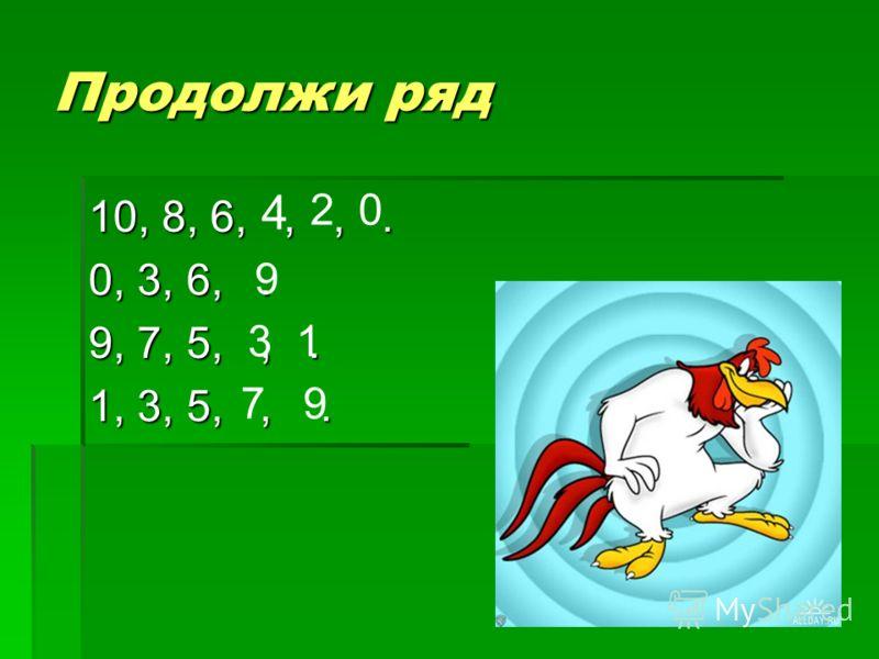 Продолжи ряд 10, 8, 6,,,. 0, 3, 6,. 9, 7, 5,,. 1, 3, 5,,. 4 20 9 31 79