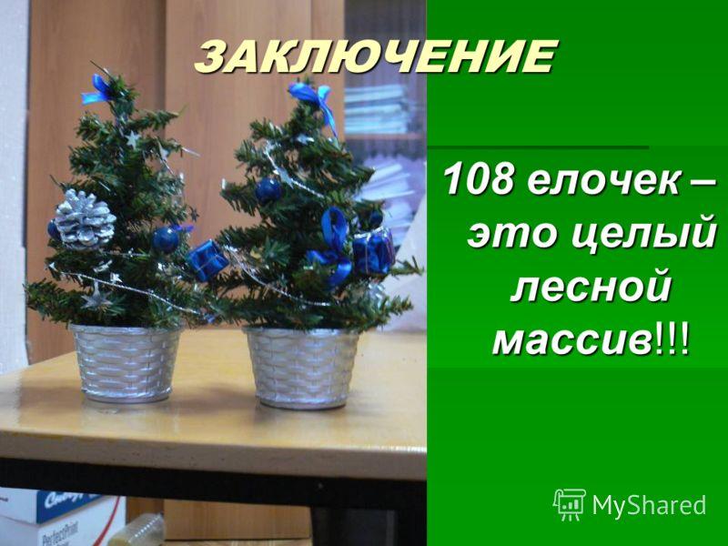ЗАКЛЮЧЕНИЕ 108 елочек – это целый лесной массив!!!