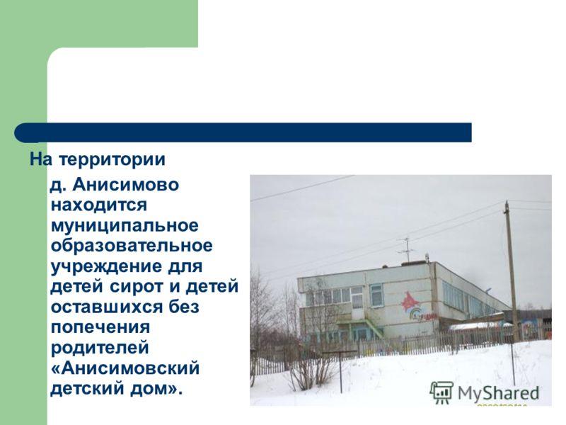 На территории д. Анисимово находится муниципальное образовательное учреждение для детей сирот и детей оставшихся без попечения родителей «Анисимовский детский дом».