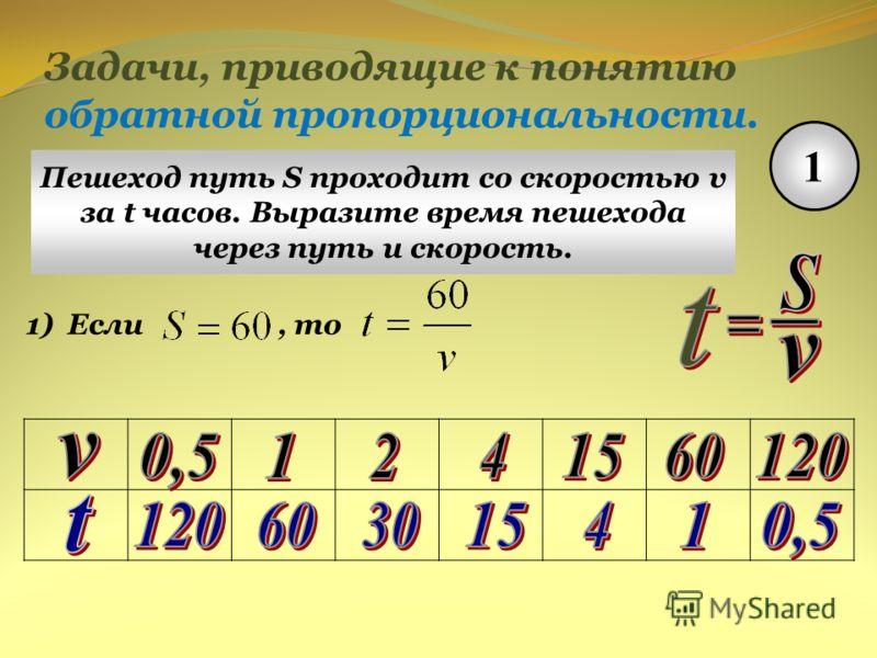 Задачи, приводящие к понятию обратной пропорциональности. 1 Пешеход путь S проходит со скоростью v за t часов. Выразите время пешехода через путь и скорость. 1)Если, то