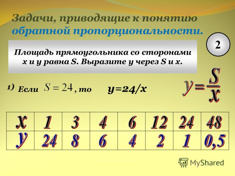 Задачи, приводящие к понятию обратной пропорциональности. 2 Площадь прямоугольника со сторонами x и y равна S. Выразите у через S и х. 1) Если, то y=24/x