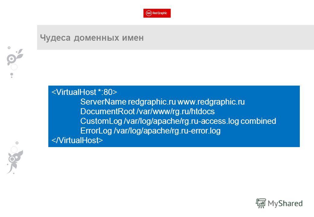 ServerName redgraphic.ru www.redgraphic.ru DocumentRoot /var/www/rg.ru/htdocs CustomLog /var/log/apache/rg.ru-access.log combined ErrorLog /var/log/apache/rg.ru-error.log