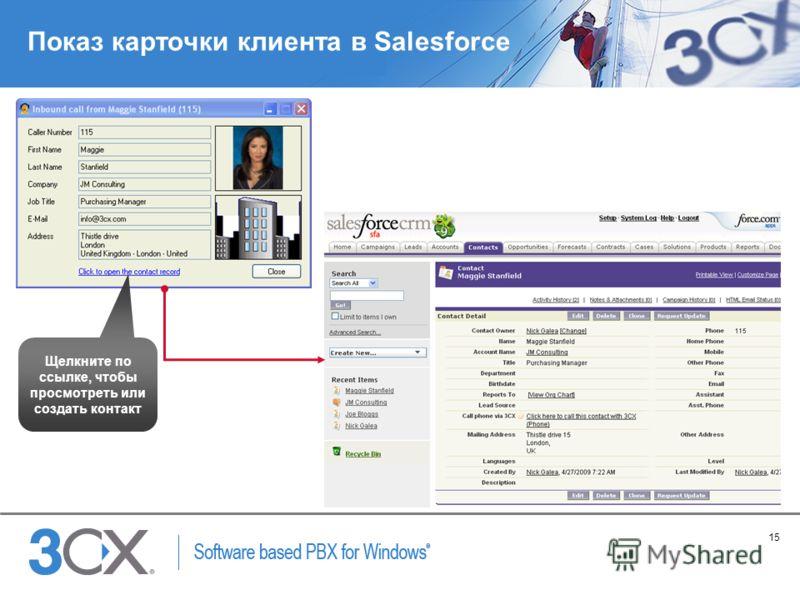 15 Copyright © 2005 ACNielsen a VNU company Показ карточки клиента в Salesforce Щелкните по ссылке, чтобы просмотреть или создать контакт