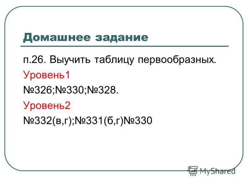 Домашнее задание п.26. Выучить таблицу первообразных. Уровень1 326;330;328. Уровень2 332(в,г);331(б,г)330