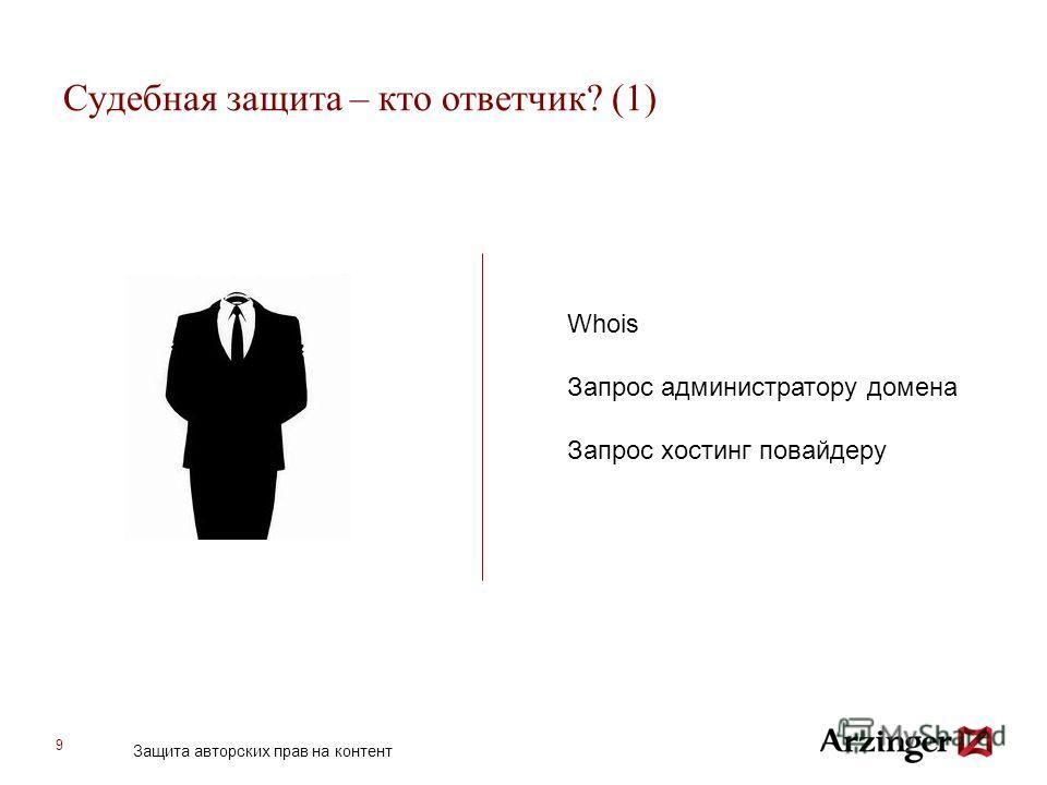 9 Судебная защита – кто ответчик? (1) Whois Запрос администратору домена Запрос хостинг повайдеру Защита авторских прав на контент