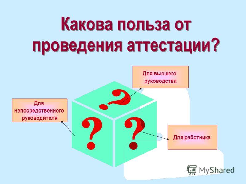 Какова польза от проведения аттестации? Какова польза от проведения аттестации? Для непосредственного руководителя Для работника Для высшего руководства