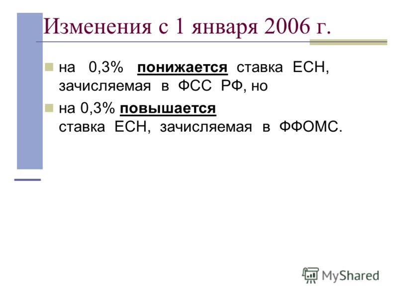 Изменения с 1 января 2006 г. на 0,3% понижается ставка ЕСН, зачисляемая в ФСС РФ, но на 0,3% повышается ставка ЕСН, зачисляемая в ФФОМС.