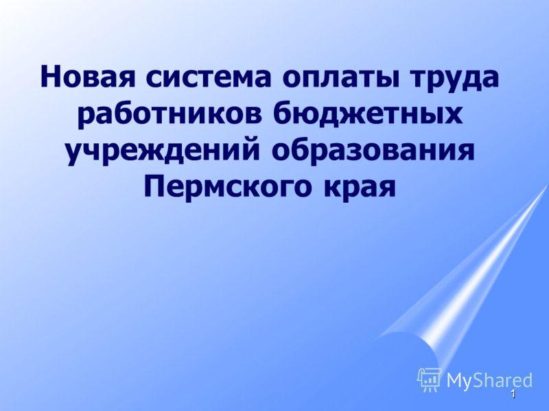 1 Новая система оплаты труда работников бюджетных учреждений образования Пермского края