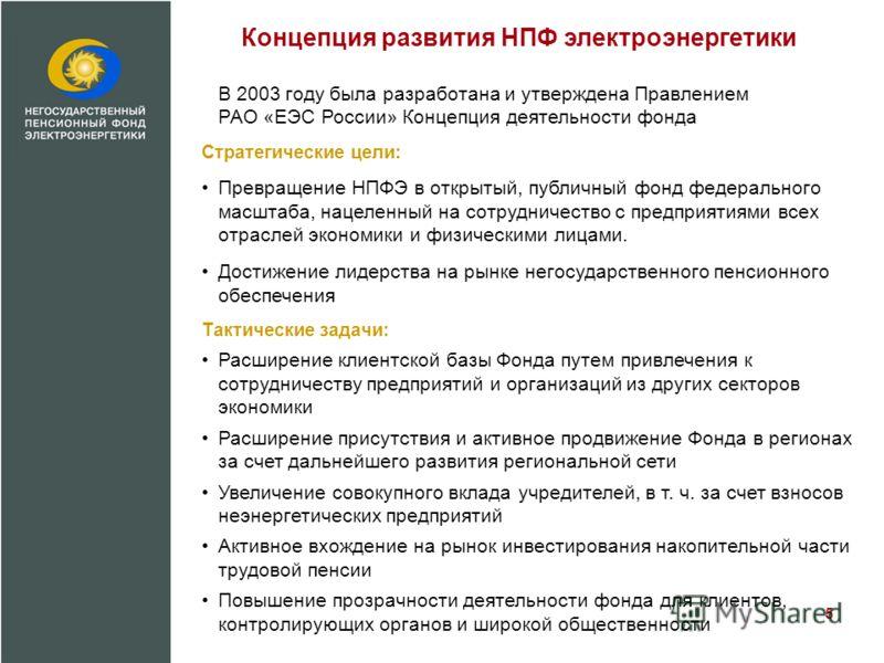 Концепция развития НПФ электроэнергетики В 2003 году была разработана и утверждена Правлением РАО «ЕЭС России» Концепция деятельности фонда Стратегические цели: Превращение НПФЭ в открытый, публичный фонд федерального масштаба, нацеленный на сотрудни